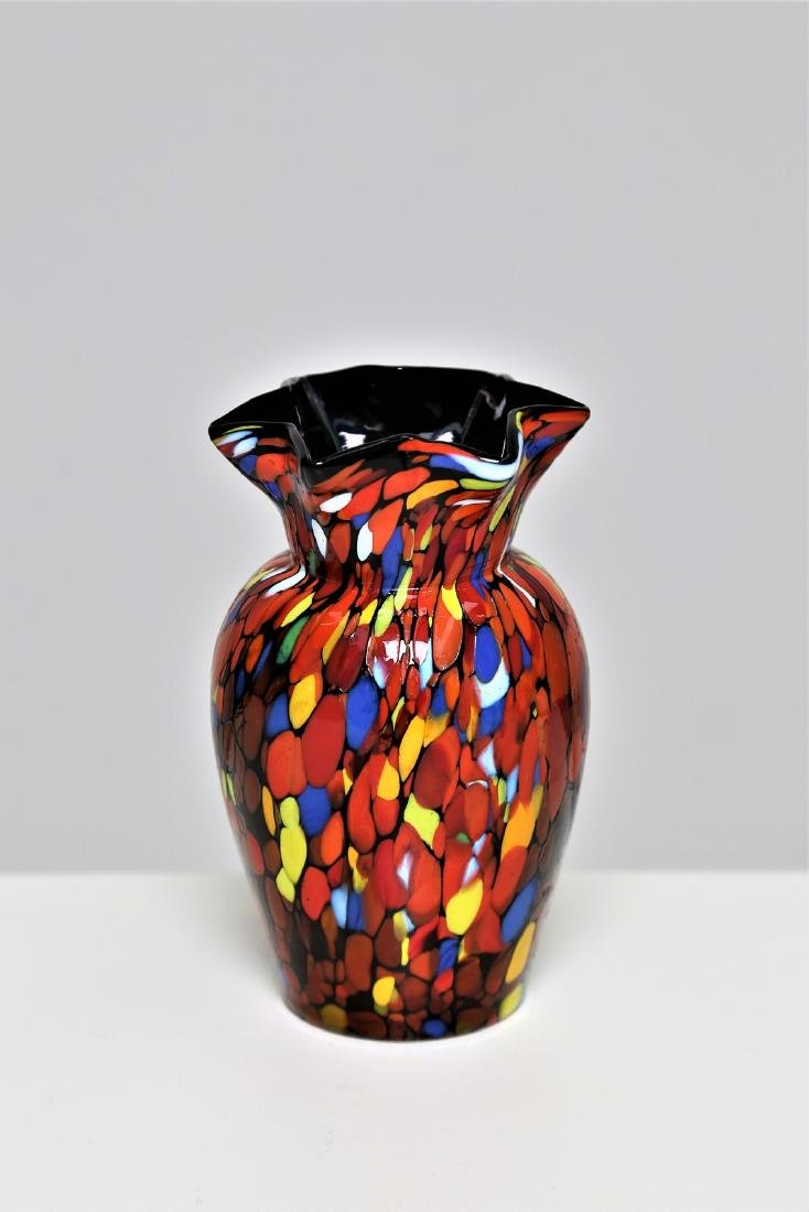 FRATELLI TOSO  Small black glass vase with multicolour