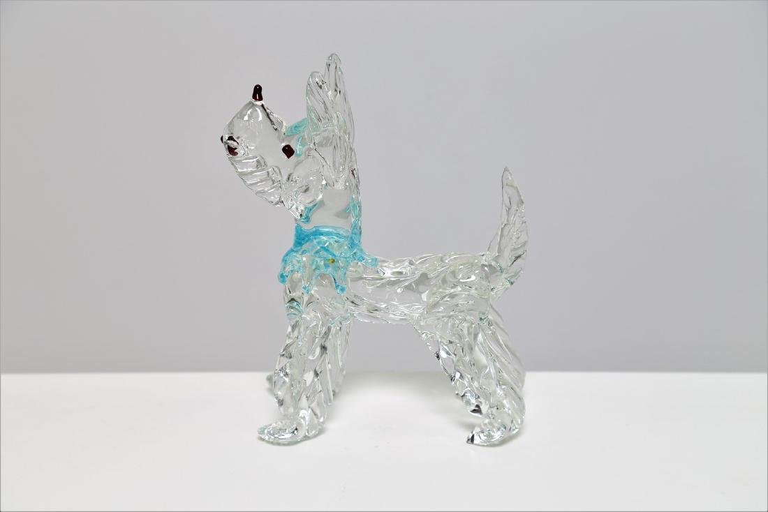 VETRERIE SEGUSO  Clear glass dog with coloured
