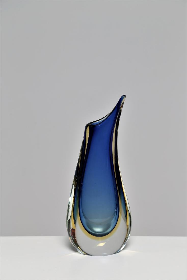 ARCHIMEDE SEGUSO Blue and yellow sommerso glass vase,