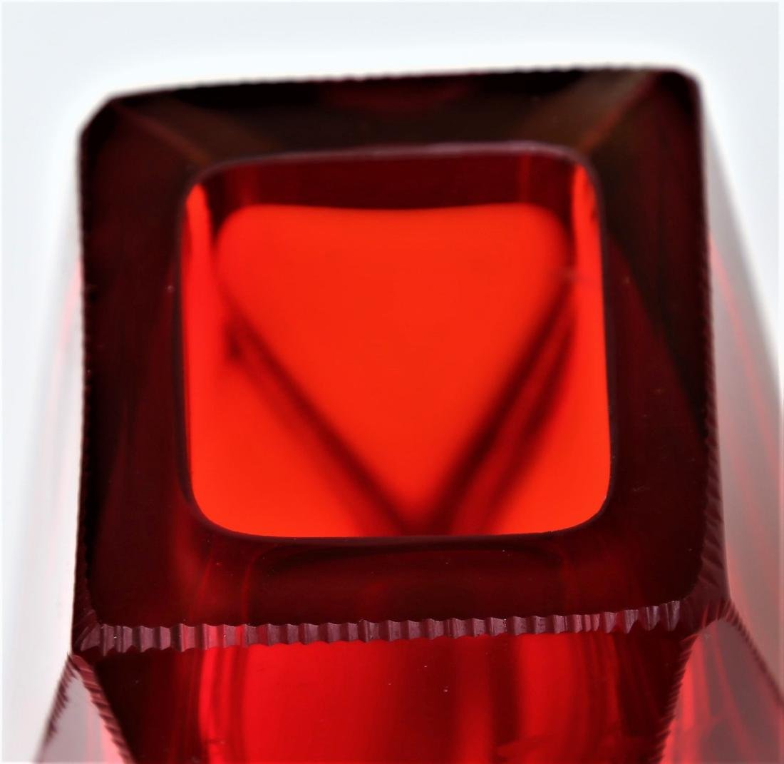 SEGUSO VETRI D'ARTE Faceted glass vase in red and - 4