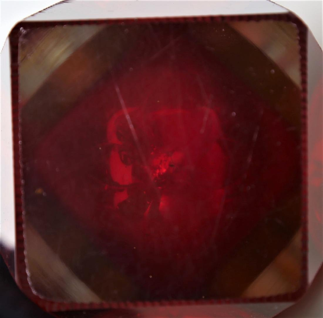 SEGUSO VETRI D'ARTE Faceted glass vase in red and - 5