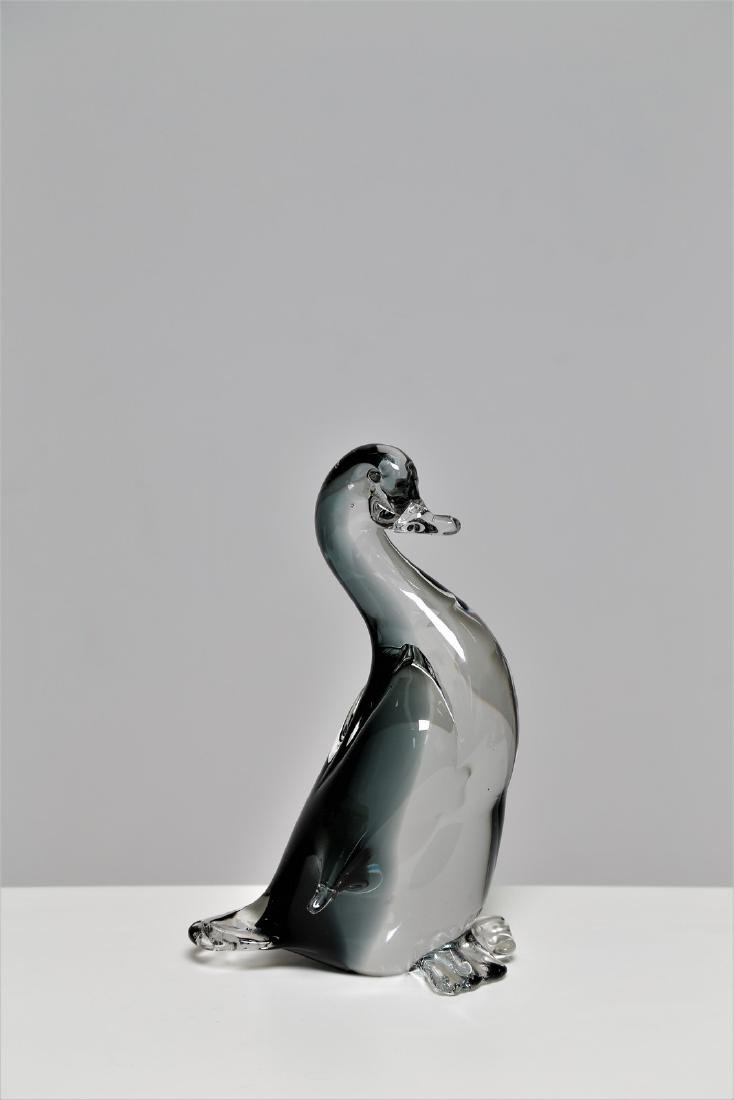 SEGUSO VETRI D'ARTE Grey sommerso glass duck, 1960s.