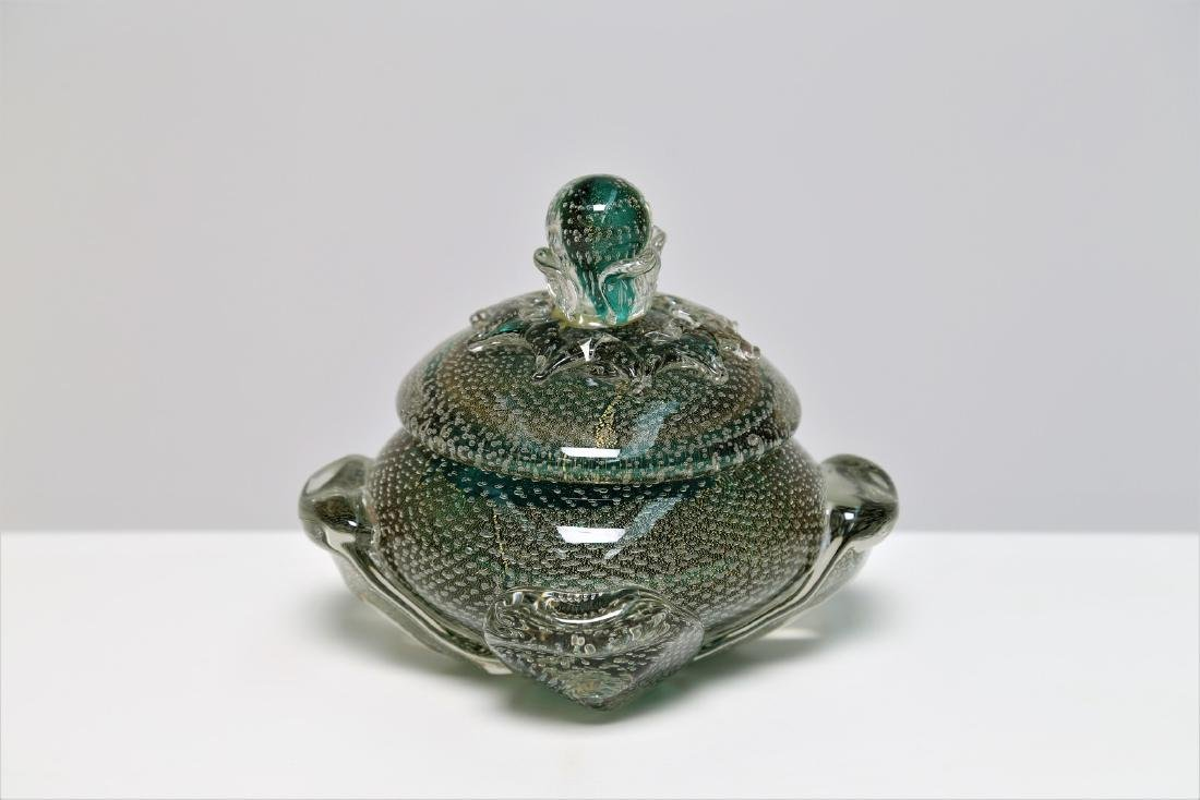FLAVIO POLI Seguso Vetro d'Arte lidded bowl in sommerso