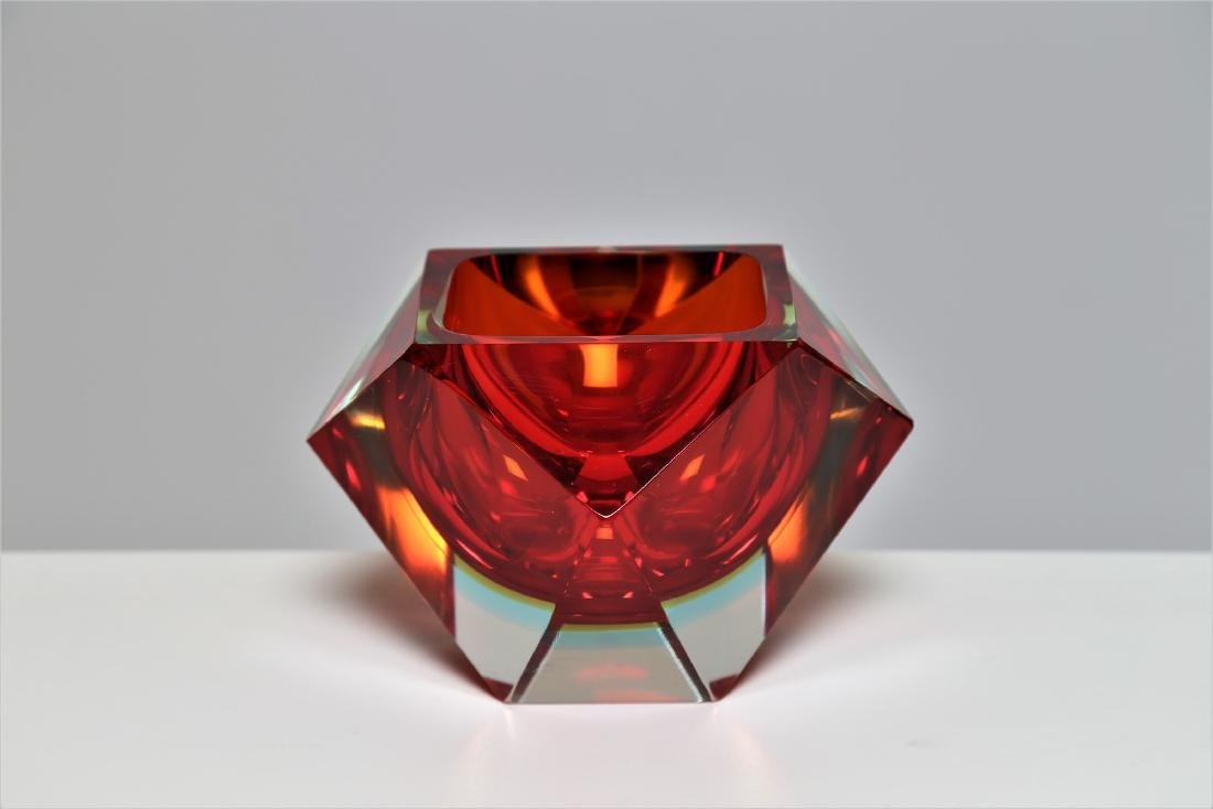 VETRERIE SEGUSO  Faceted glass centerpiece with red and