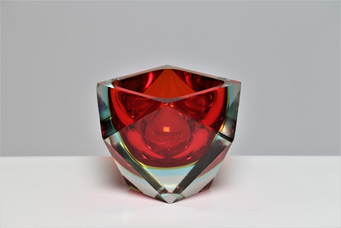 VETRERIE SEGUSO  Faceted glass centerpiece with red and - 2