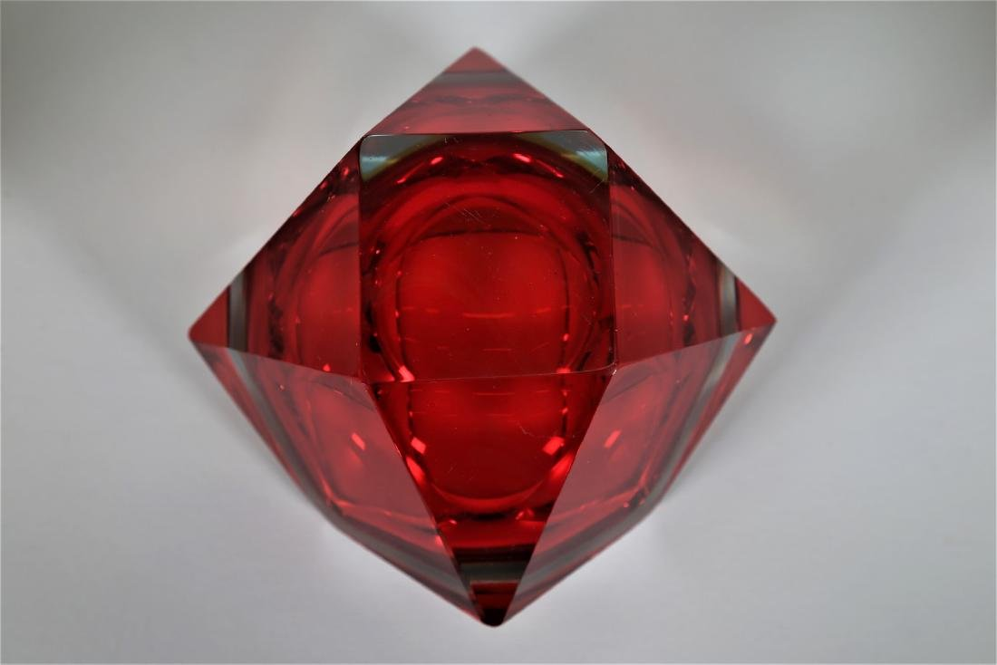 VETRERIE SEGUSO  Faceted glass centerpiece with red and - 4