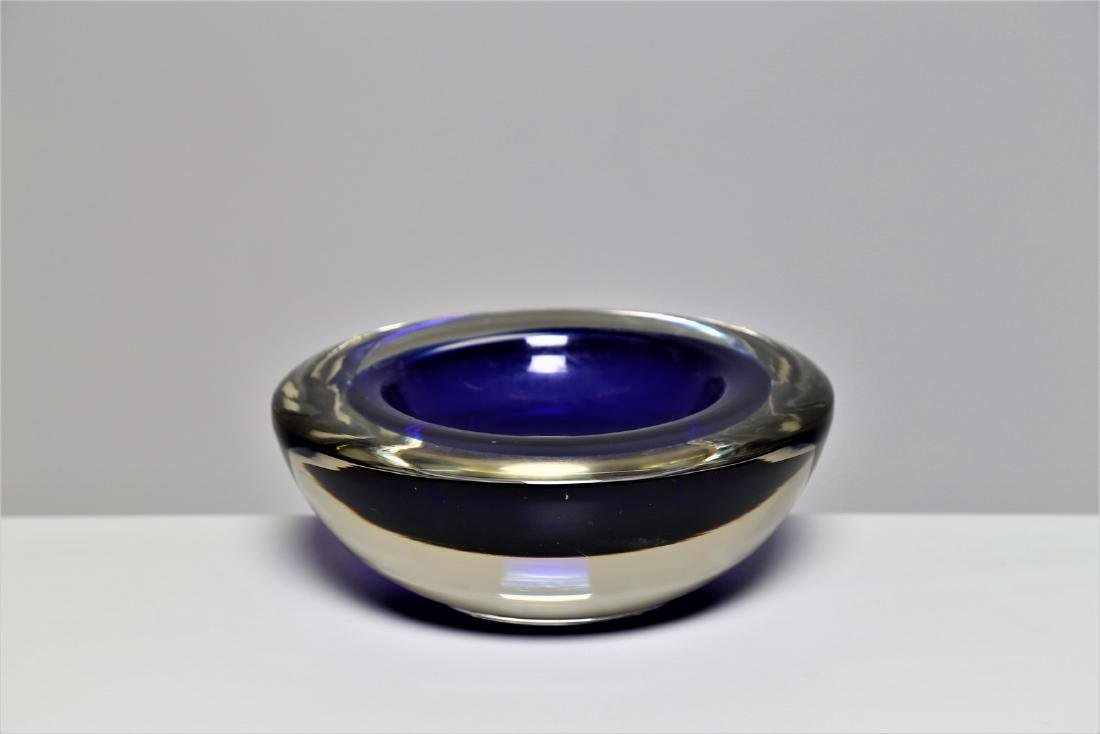 ROBERTO ANATRA Solid glass bowl with blue sommerso and