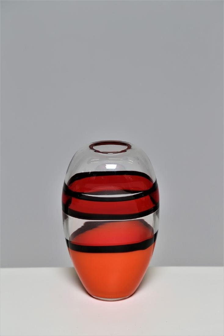 CARLO MORETTI Clear glass vase with coral, orange and