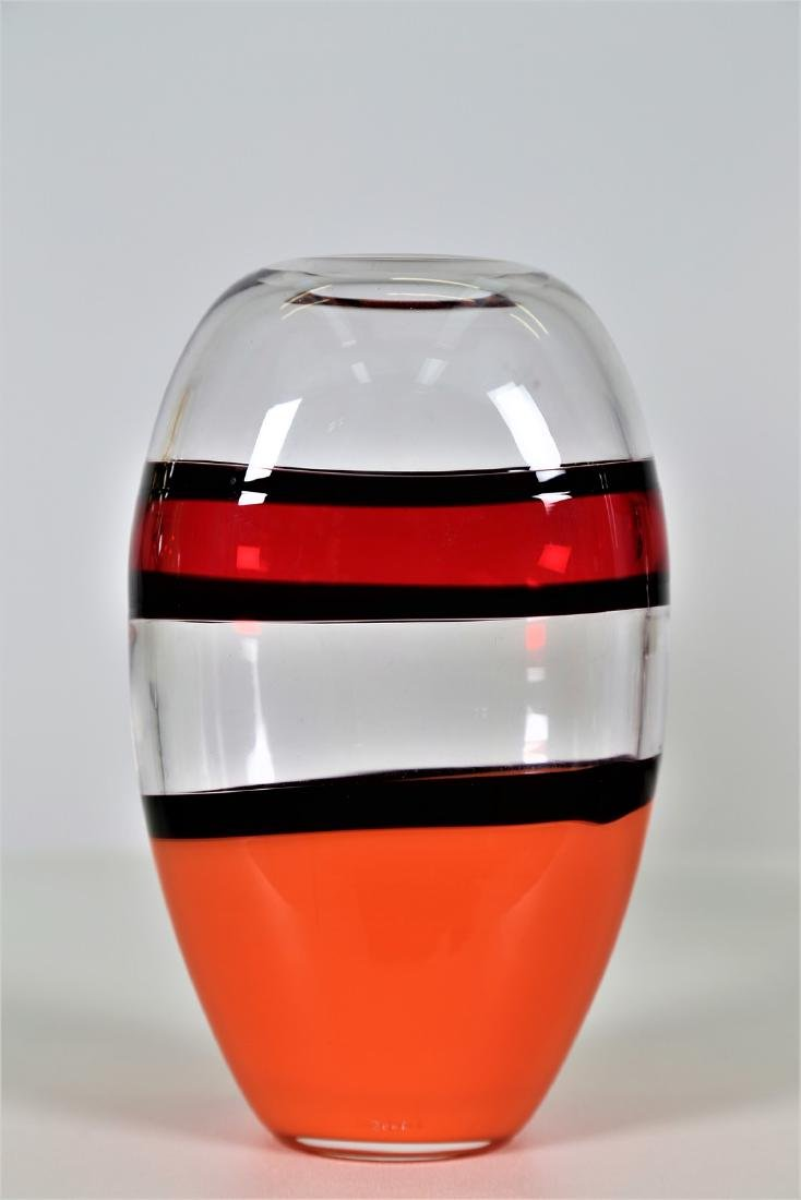 CARLO MORETTI Clear glass vase with coral, orange and - 2