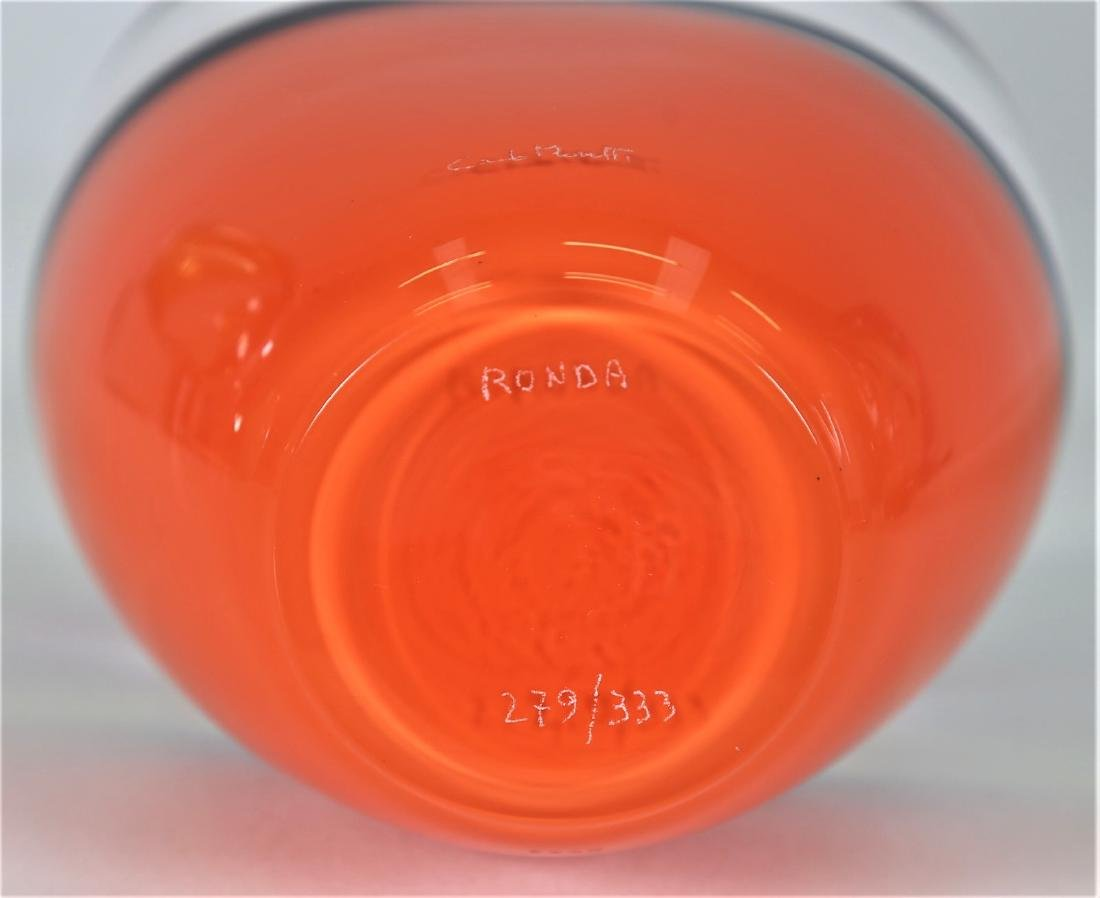 CARLO MORETTI Clear glass vase with coral, orange and - 5