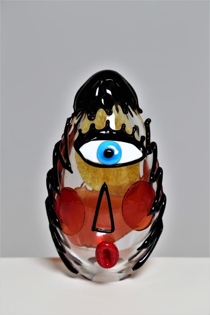 MANIFATTURA MURANO Clear glass sculpture with coloured
