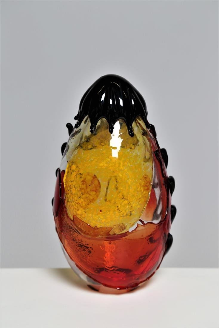 MANIFATTURA MURANO Clear glass sculpture with coloured - 3