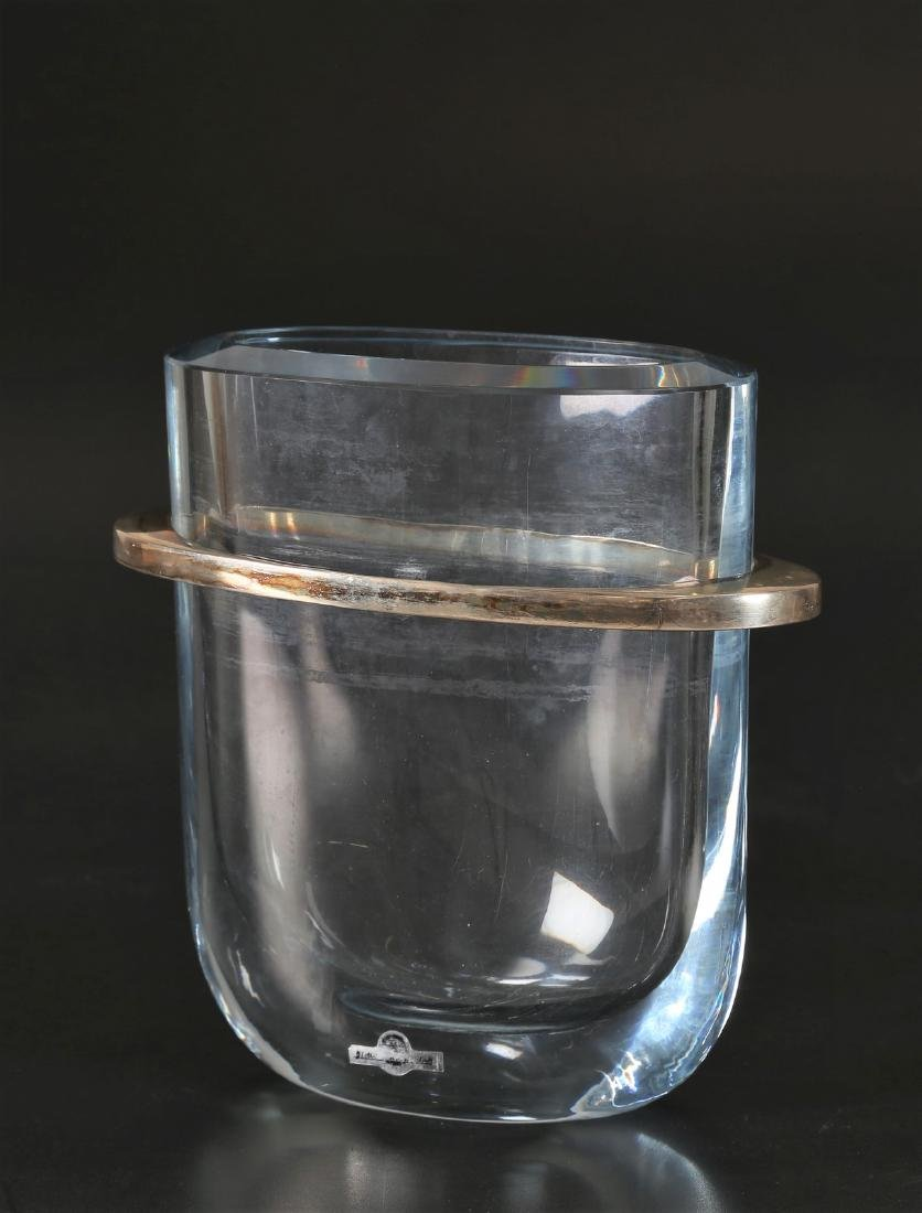 STROMBERGSHYTTAN Crystal and metal vase, Swedish,