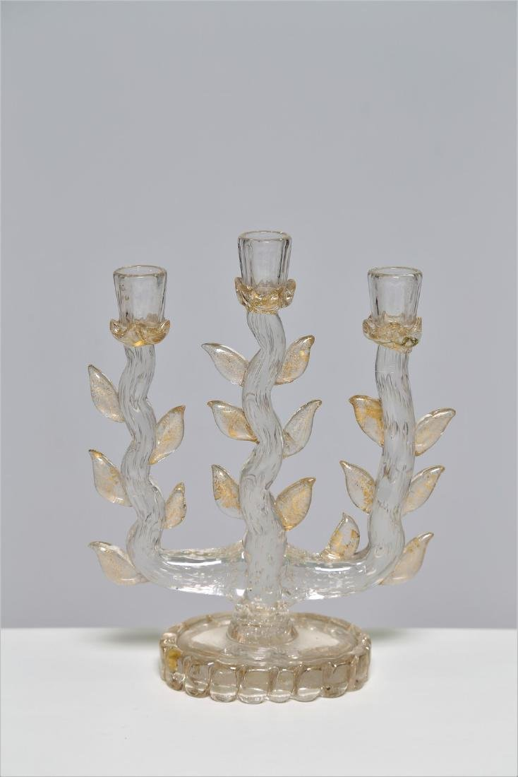 BAROVIER & TOSO  Clear glass candelabra with bubble