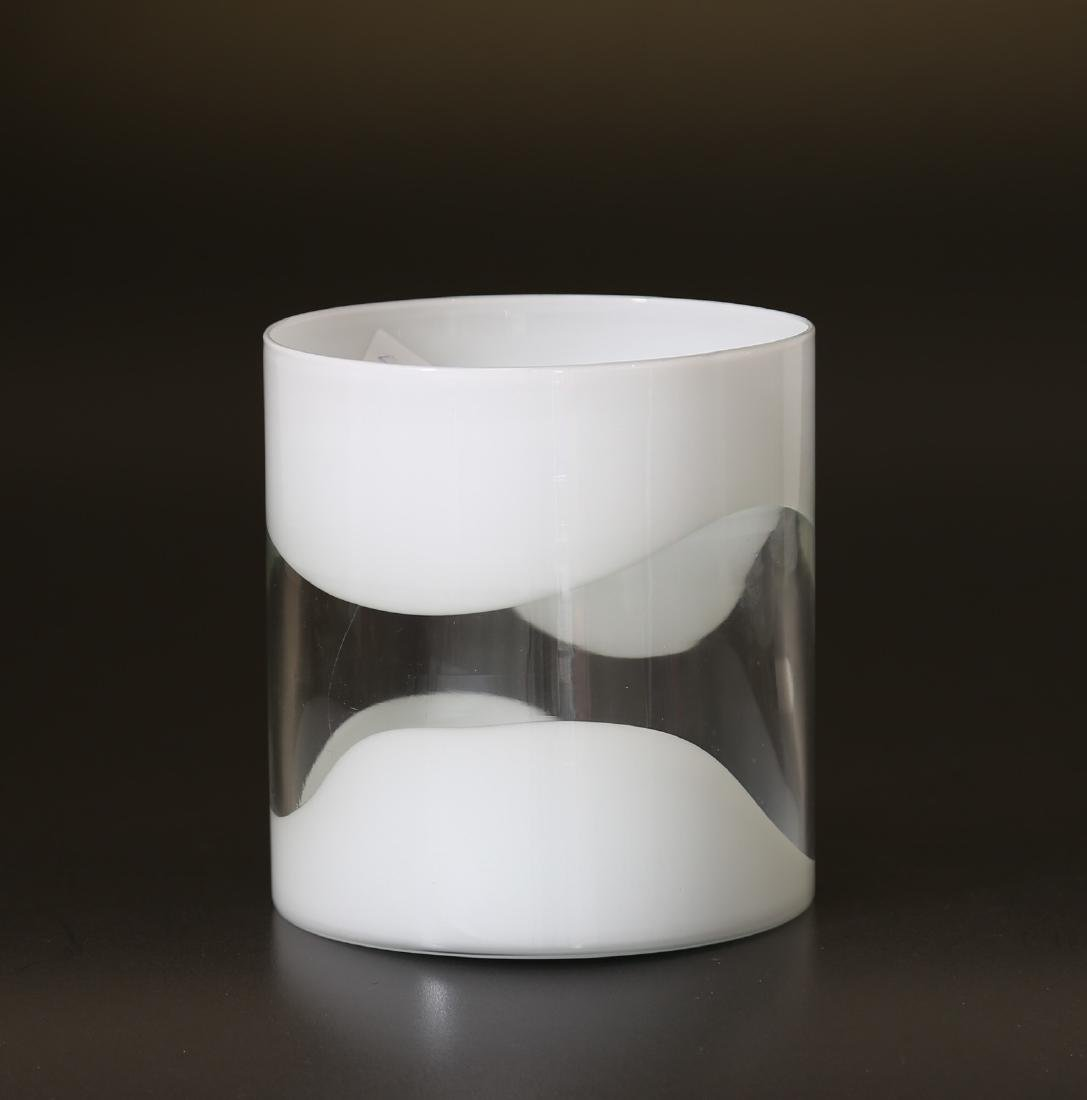 LUCIANO GASPARI Glass vase with milk glass bands,