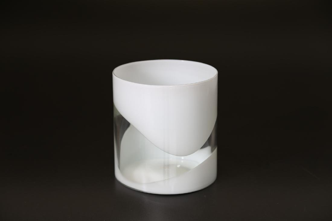 LUCIANO GASPARI Glass vase with milk glass bands, - 2