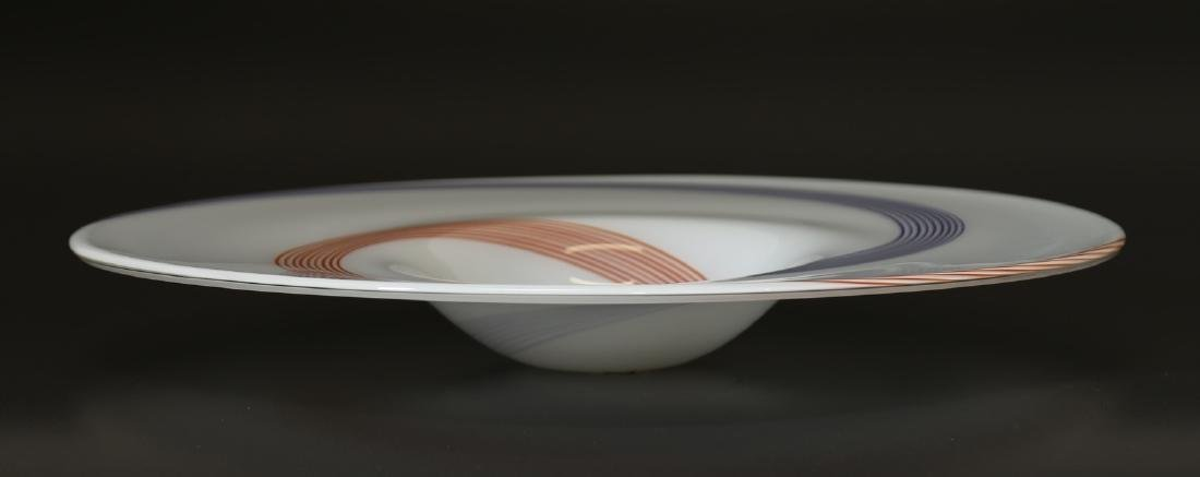 A.V.E.M  Large glass plate with spiral cane decoration,