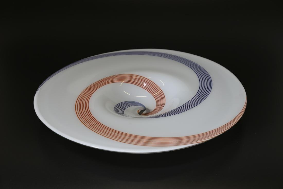 A.V.E.M  Large glass plate with spiral cane decoration, - 2