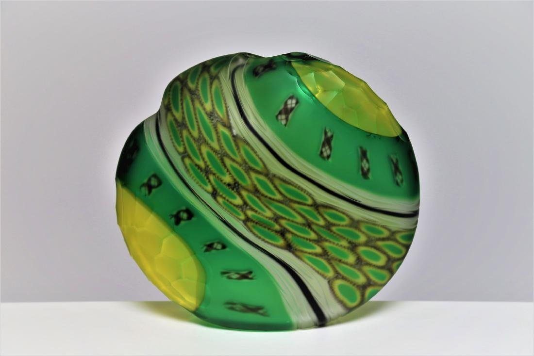-  Glass vase with spiral cane decoration, 1960s.