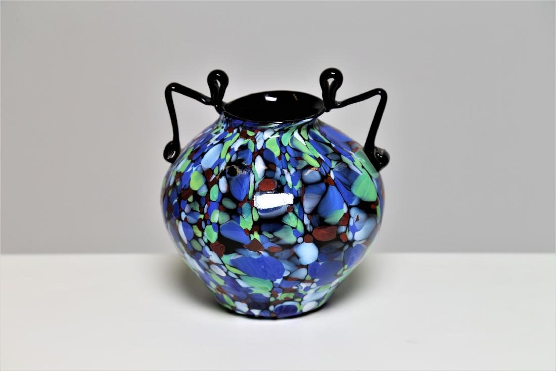 """FRATELLI TOSO  Amphora in """"biansato"""" glass with"""