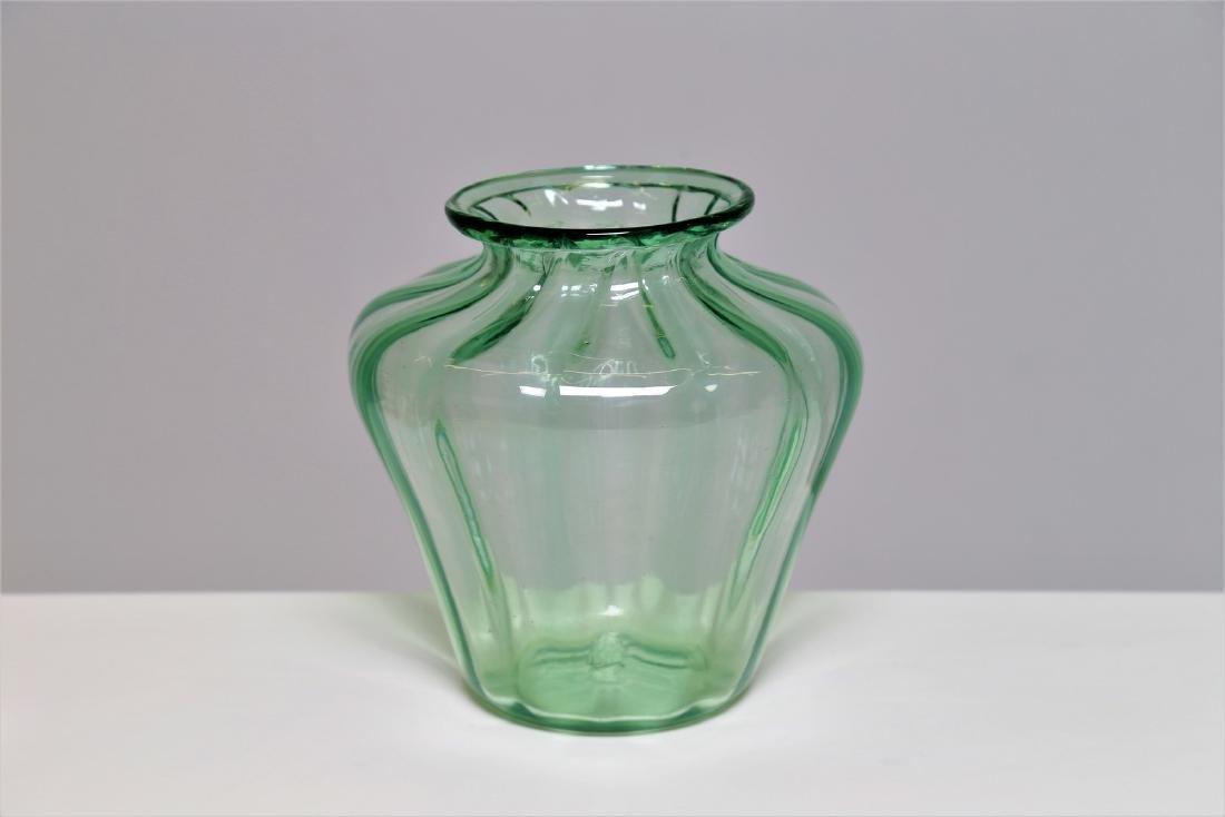 NAPOLEONE MARTINUZZI Transparent ribbed green glass