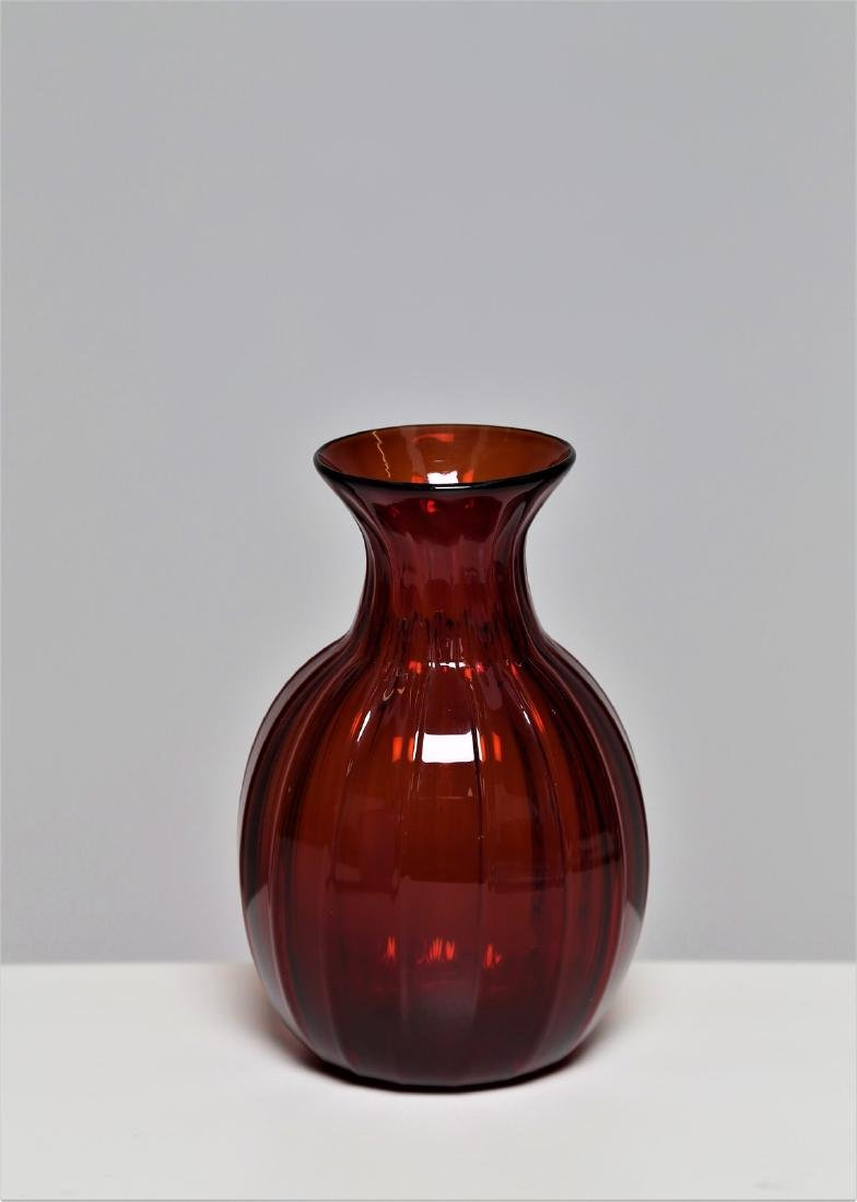 ZECCHIN & MARTINUZZI  Transparent ribbed glass vase,