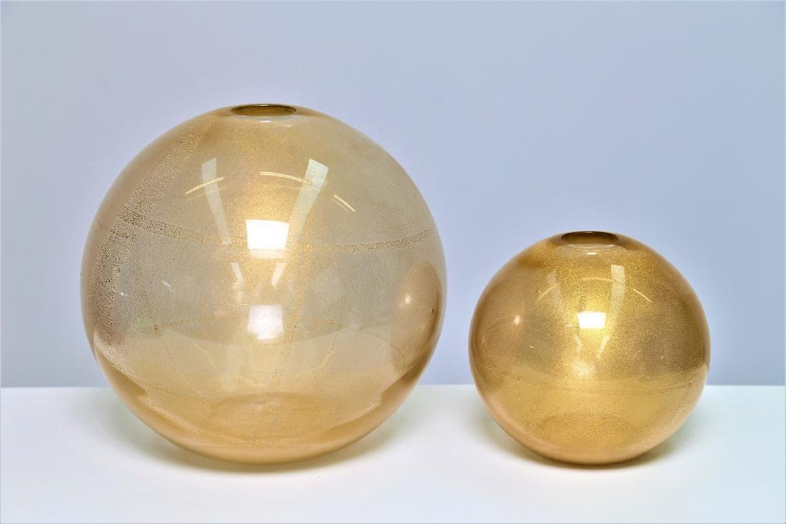 CARLO NASON Two transparent glass vases with gold leaf,