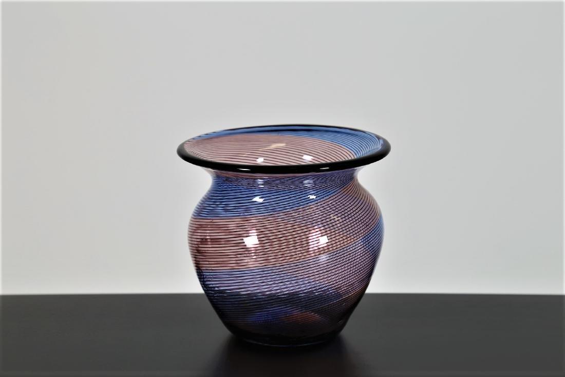 BAROVIER & TOSO  Half-filigree spiral glass vase,