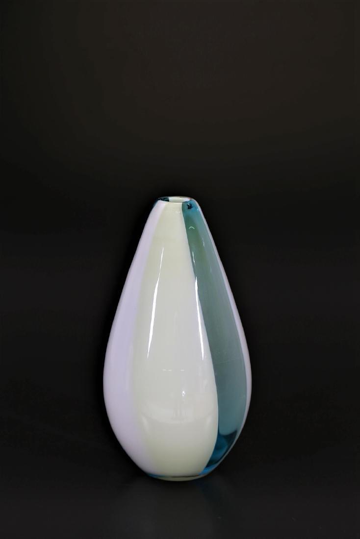 CARLO MORETTI Incalmo glass vase with vertical bands,