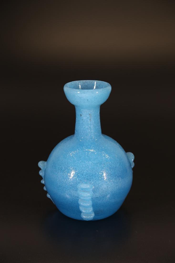SEGUSO VETRI D'ARTE Pulegoso glass vase with threading, - 2