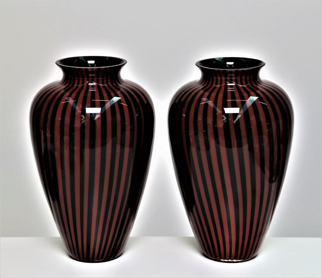 LINO TAGLIAPIETRA Pair of black glass vases with