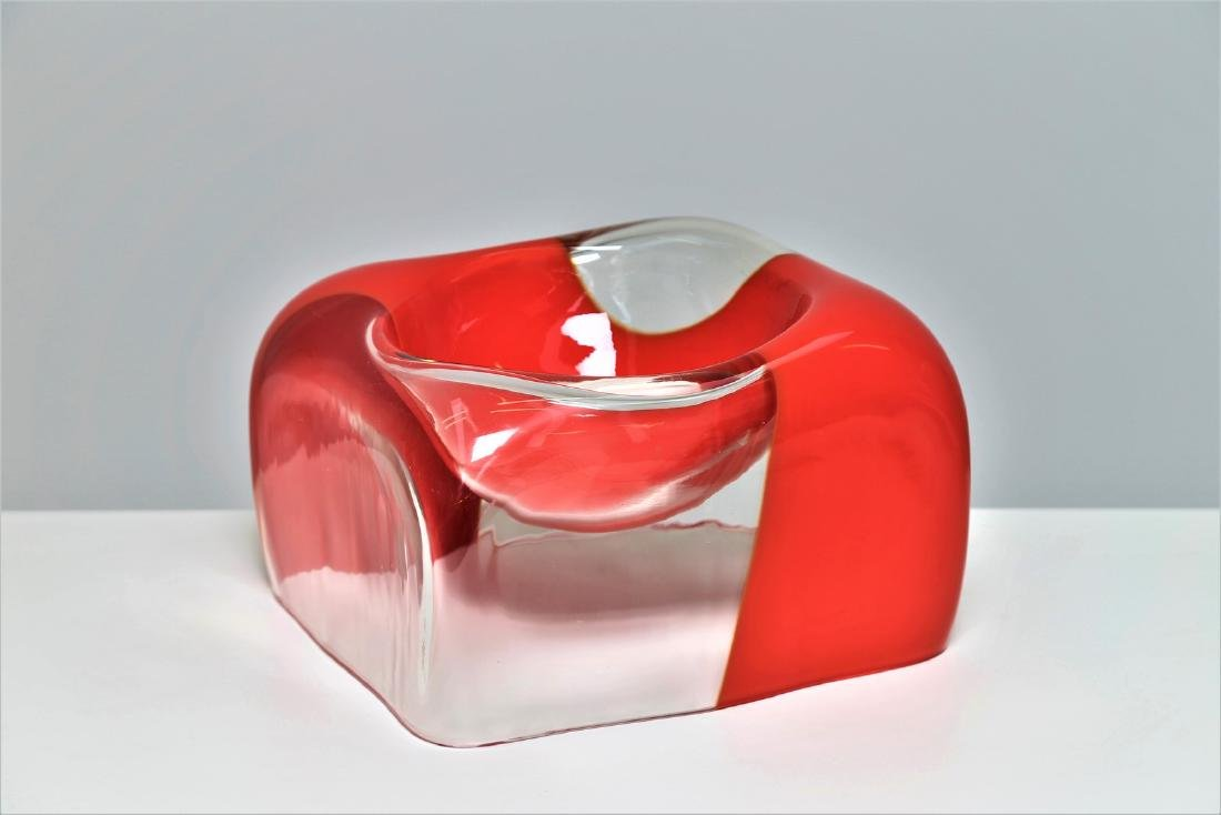 CARLO NASON Transparent glass bowl with coral band,