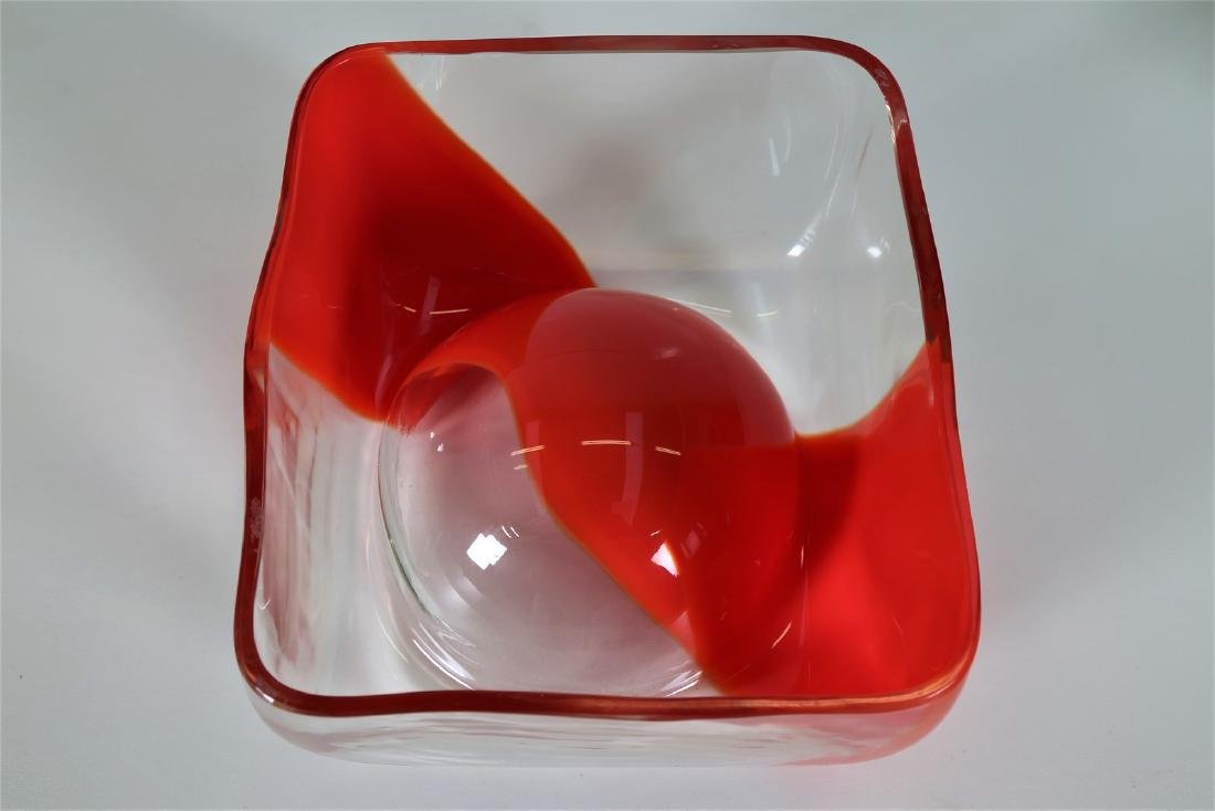 CARLO NASON Transparent glass bowl with coral band, - 3
