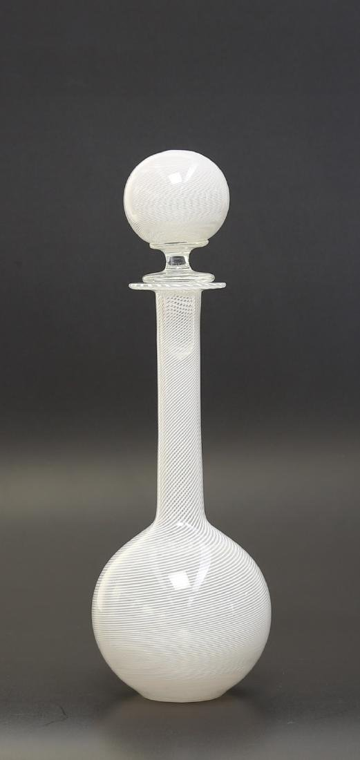 PAOLO VENINI Half-filigree glass bottle with stopper by