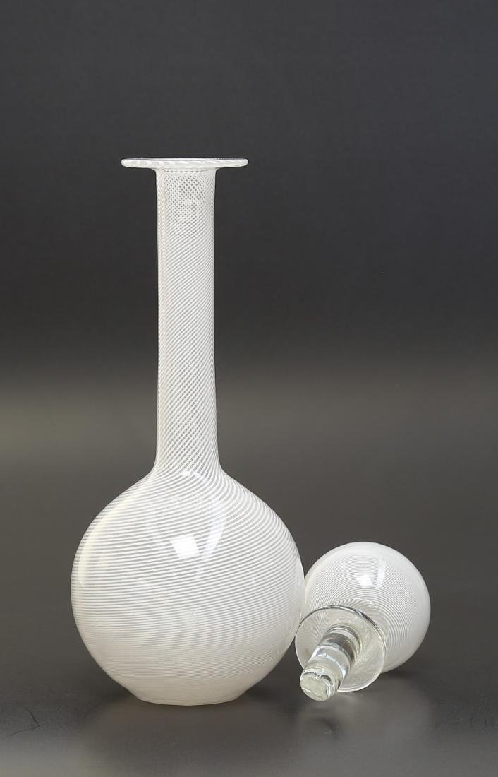 PAOLO VENINI Half-filigree glass bottle with stopper by - 2