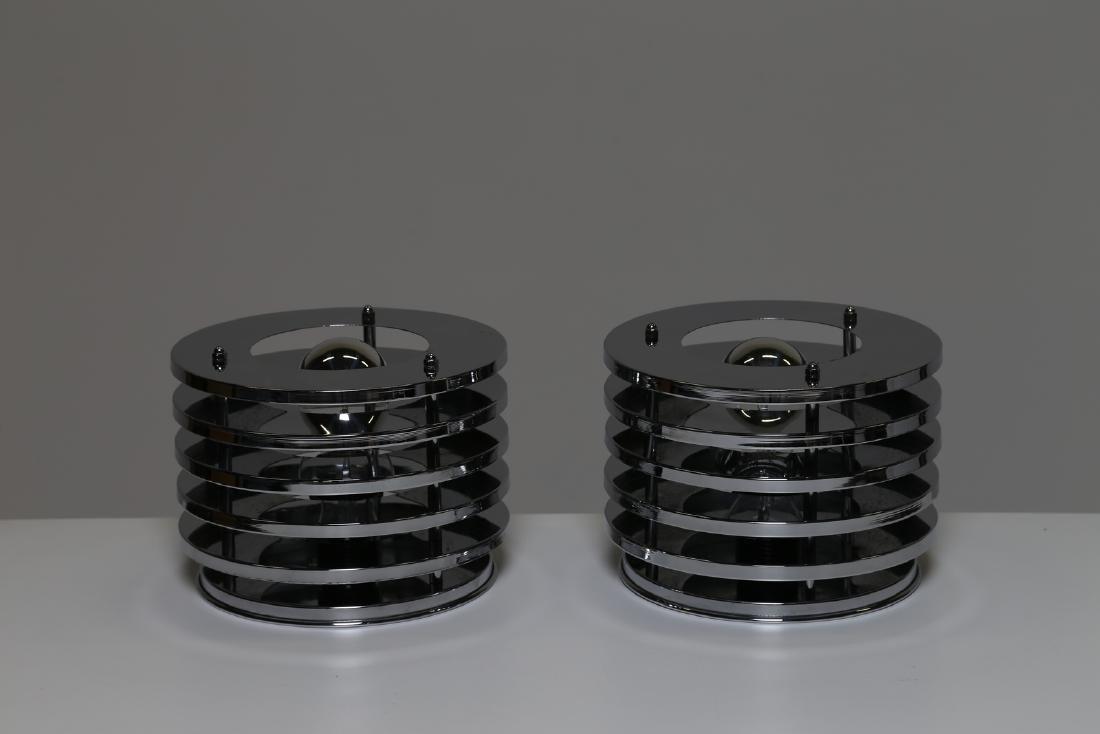 MANIFATTURA ITALIANA  Pair of table lamps in chromed