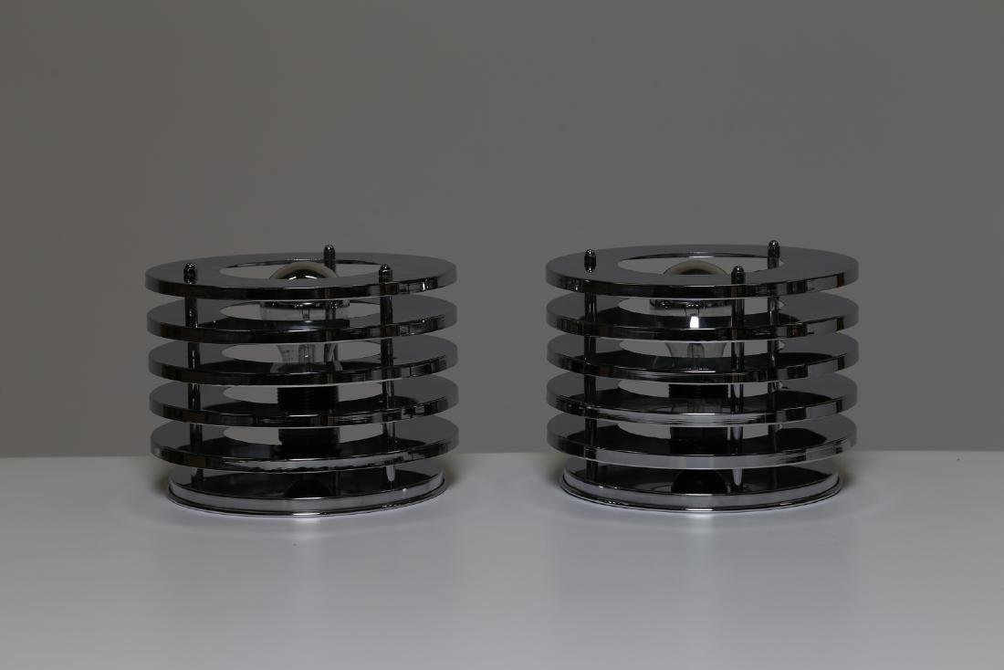 MANIFATTURA ITALIANA  Pair of table lamps in chromed - 2