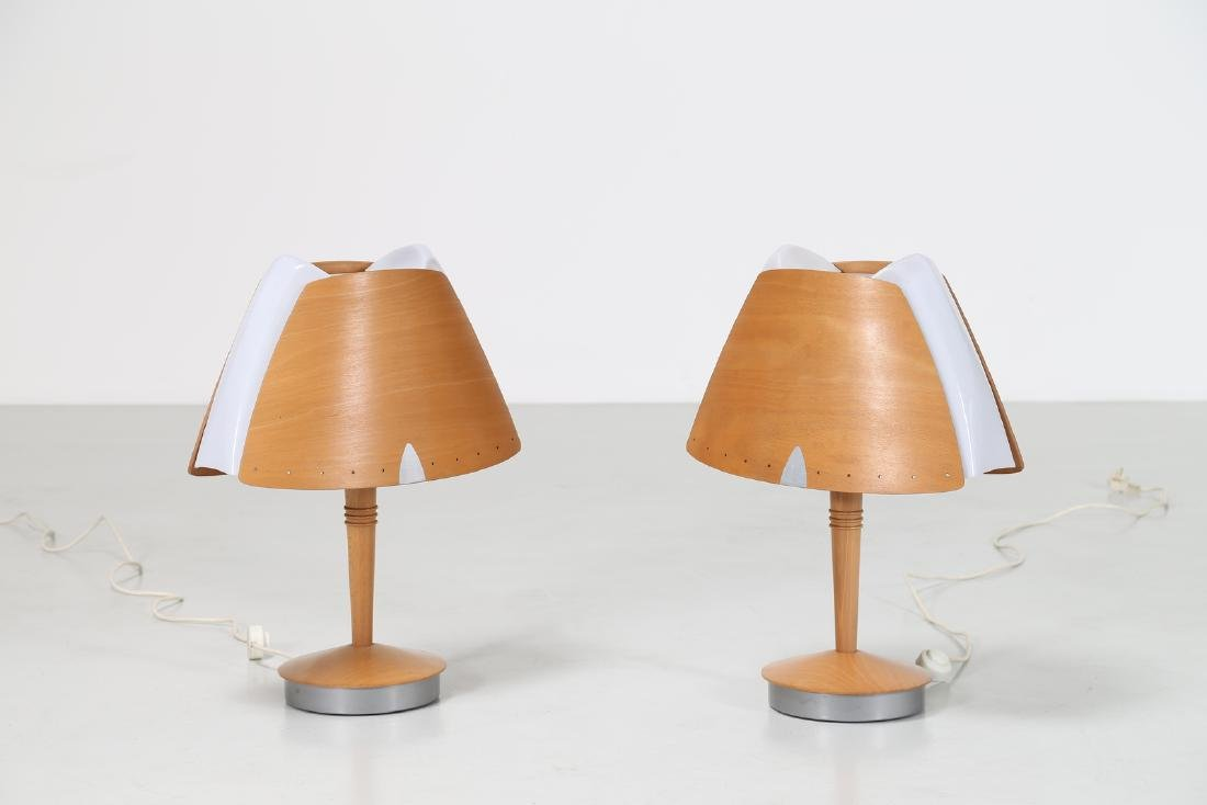 -  Pair of curved wood, metal and plexiglass table