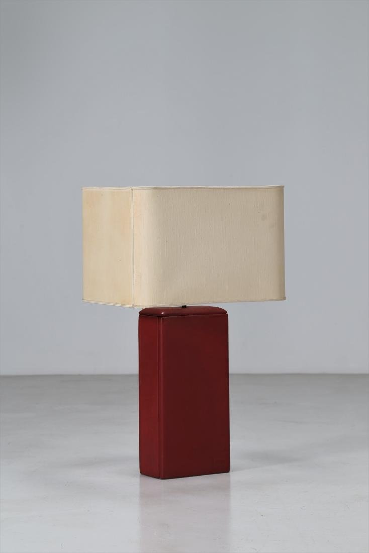 RIMA  Table lamp in brass, leather and textile, 1956 .