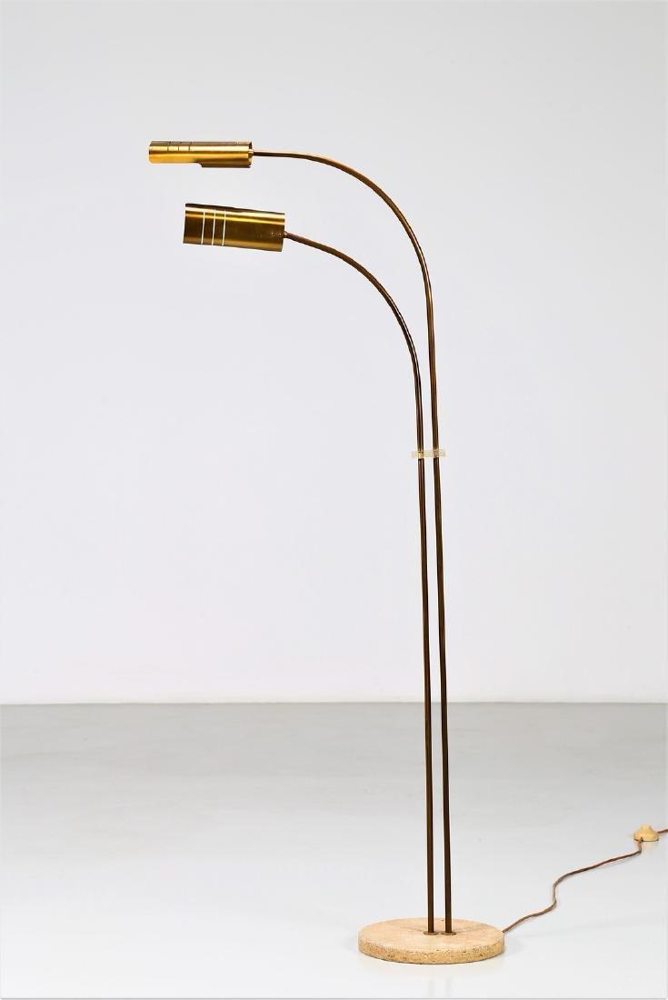 MANIFATTURA ITALIANA  Brass floor lamp with marble