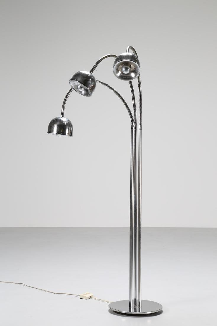 REGGIANI  Floor lamp in chromed steel with three