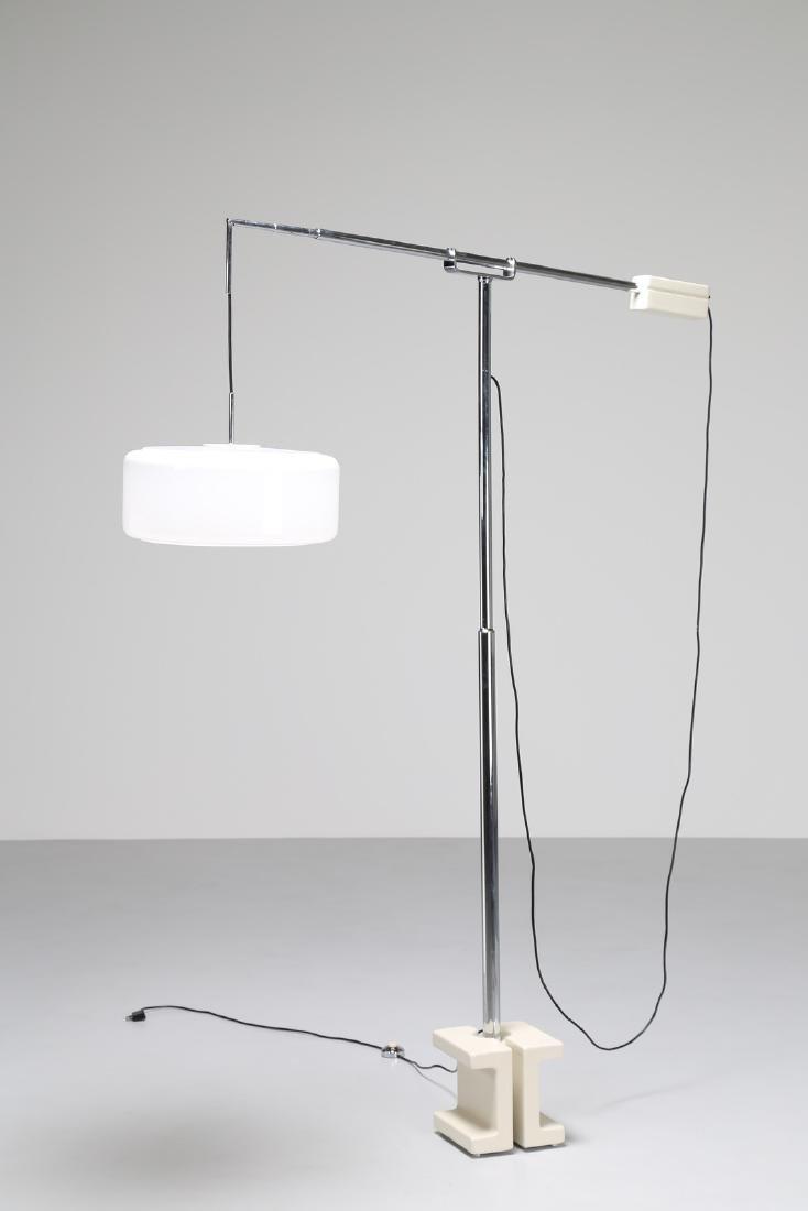 VALENTI  Telescopic floor lamp in chromed metal with