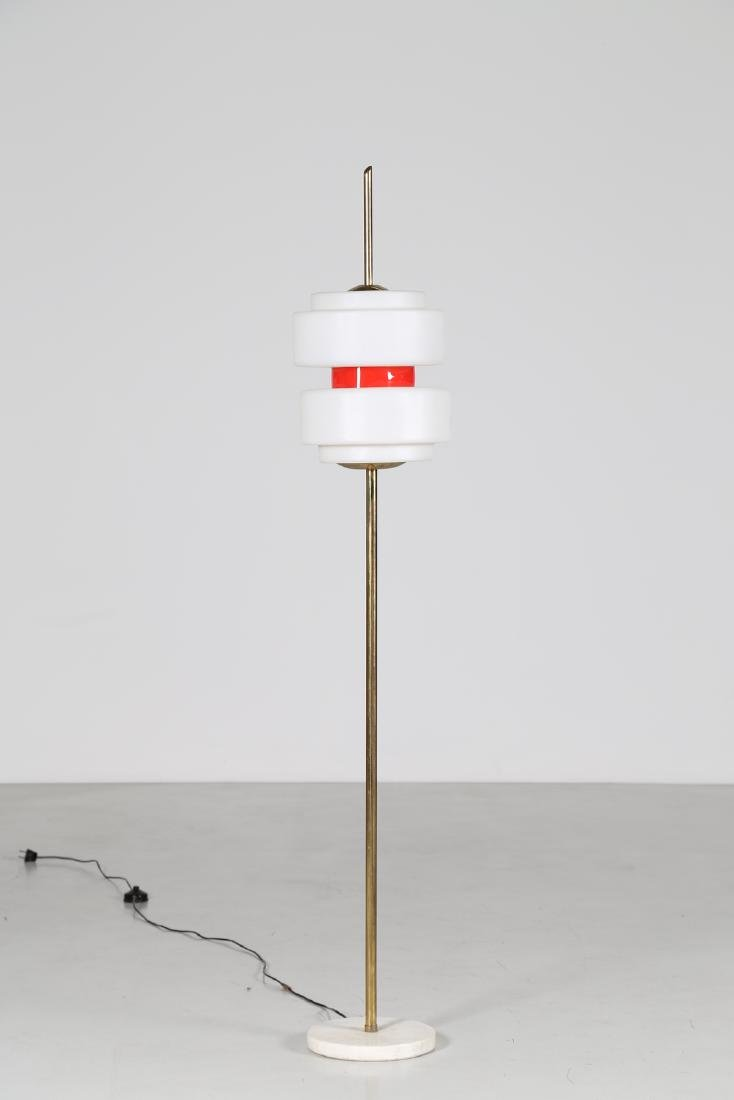 STILNOVO  Standard lamp in brass, aluminium and opal