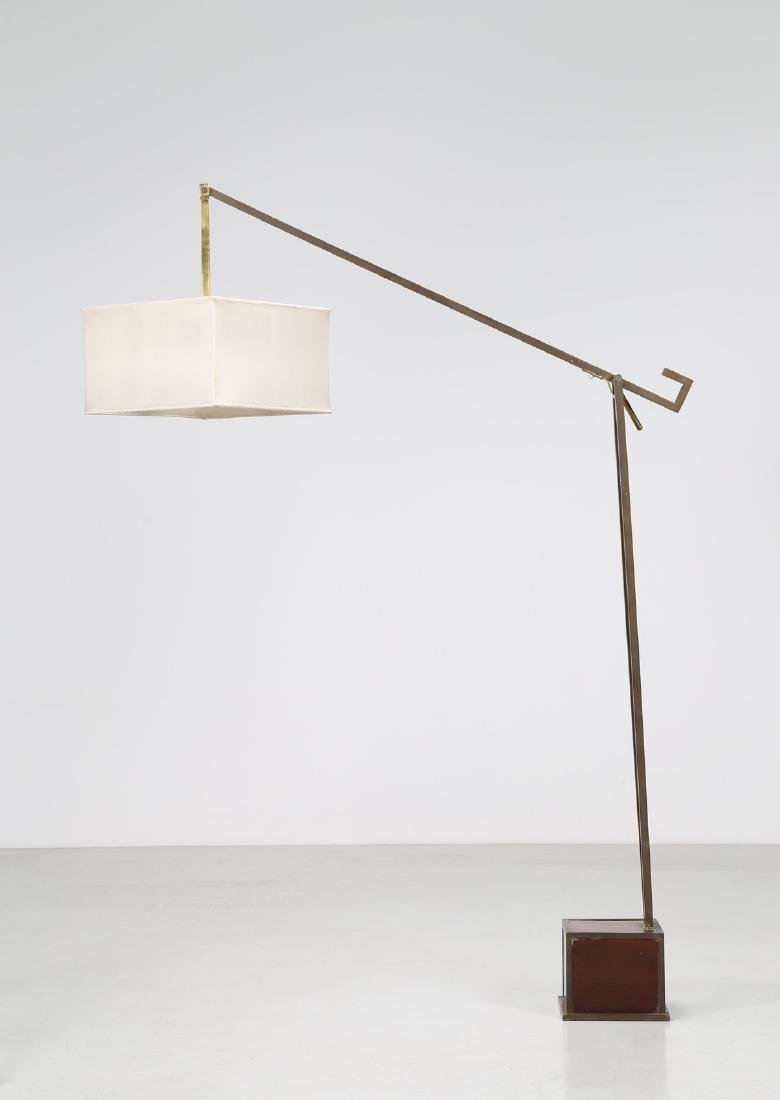 ROMEO REGA Brass and textile floor lamp with wooden