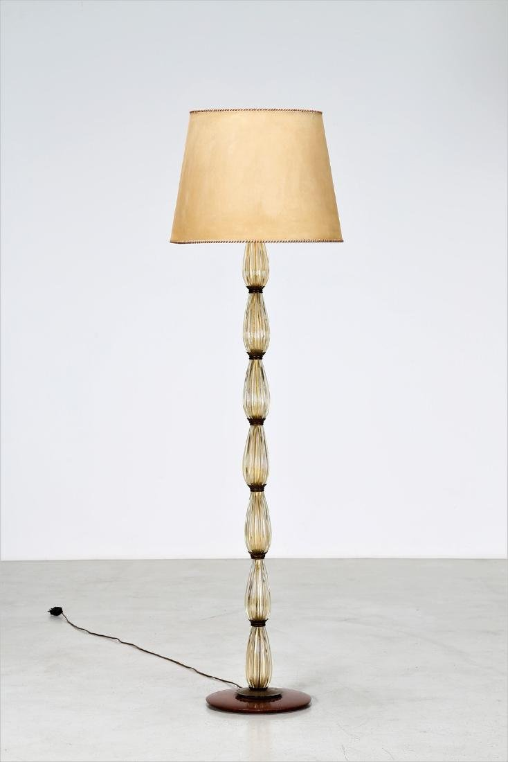 BAROVIER & TOSO  Brass and glass standard lamp, 1940s.