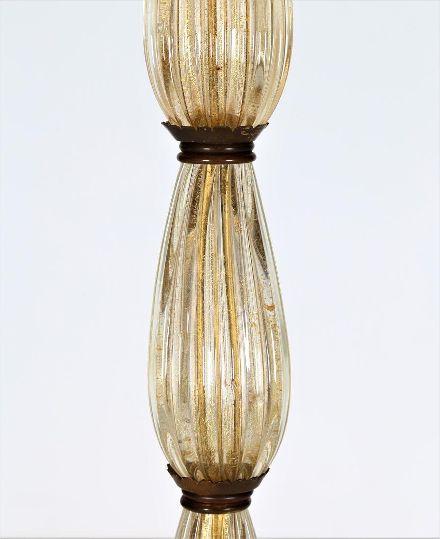 BAROVIER & TOSO  Brass and glass standard lamp, 1940s. - 2
