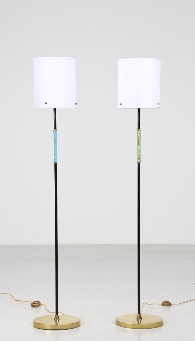 CASEY FANTIN Pair of standard lamps in brass, lacquered