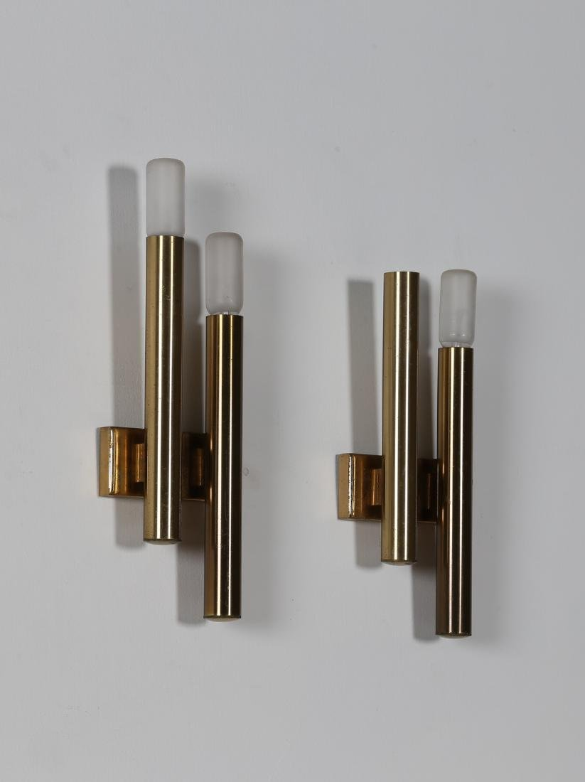 STILNOVO  Pair of brass wall lamps, 1960s.