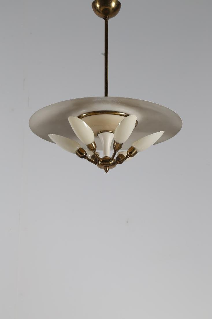 MANIFATTURA ITALIANA  Six-lamp chandelier in brass and