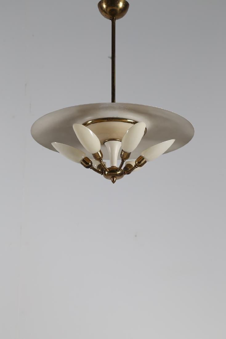 MANIFATTURA ITALIANA  Six-lamp chandelier in brass and
